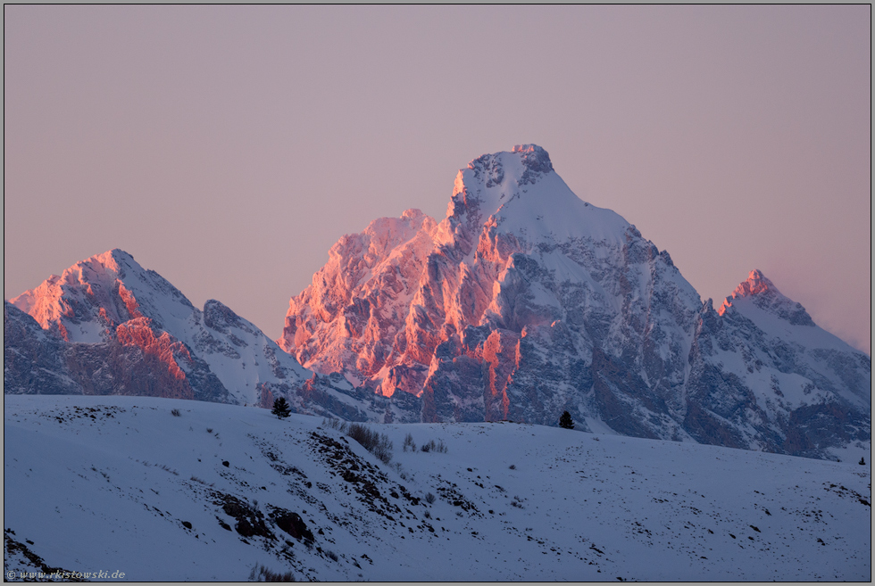 im Abendrot... Grand Teton *Wyoming*, Rocky Mountains in Schnee und Eis, USA